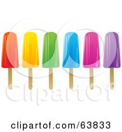 Row Of Colorful Fruit Flavored Ice Pops On White