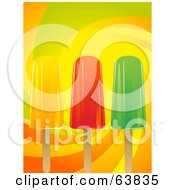 Royalty Free RF Clipart Illustration Of Three Fruit Popsicles On A Colorful Swirl Background