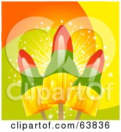 Royalty Free RF Clipart Illustration Of Three Rocket Ice Pops On A Colorful Background by elaineitalia