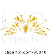 Ornate Grape And Vine Flourish On White