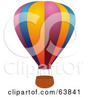 Royalty Free RF Clipart Illustration Of A Colorful Hot Air Balloon With An Empty Basket On White by elaineitalia