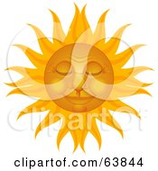 Royalty Free RF Clipart Illustration Of A Peaceful Sun Face At Rest