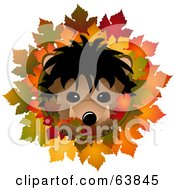 Royalty Free RF Clipart Illustration Of A Cute Hedgehog In An Autumn Leaf Circle On White by elaineitalia