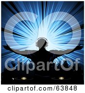 Royalty Free RF Clipart Illustration Of A Silhouetted Dj Wearing Headphones And Holding His Arms Out Over A Dance Floor With A Blue Burst by elaineitalia