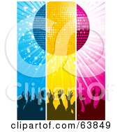 Royalty Free RF Clipart Illustration Of Blue Yellow And Pink Panels Of Silhouetted Hands Under A Disco Ball by elaineitalia