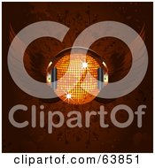 Royalty Free RF Clipart Illustration Of A Winged Orange Disco Ball With Headphones On A Floral Background by elaineitalia