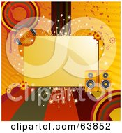 Royalty Free RF Clipart Illustration Of A Blank Space Bordered With Colored Lines Circles Grunge Flowers Speakers And A Disco Ball by elaineitalia