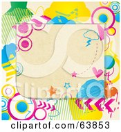 Royalty Free RF Clipart Illustration Of A Background Of A Blank Note Surrounded By Colorful Doodles by elaineitalia