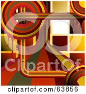 Funky Retro Background Of Rainbow Circles And Lines With Mosaic