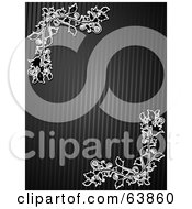 Royalty Free RF Clipart Illustration Of A Black Textured Background With White Floral Corners by elaineitalia
