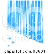 Royalty Free RF Clipart Illustration Of A Blue Christmas Background Of Vertical Stripes Snow And Shapes by elaineitalia