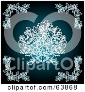 Royalty Free RF Clipart Illustration Of A Teal Floral Background With Center And Corner Designs by elaineitalia