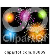Royalty Free RF Clipart Illustration Of Colorful Fireworkds Bursting In A Black Sky by elaineitalia