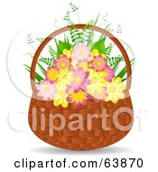 Royalty Free RF Clipart Illustration Of Pink And Yellow Flowers With Ferns In A Wicker Basket by elaineitalia
