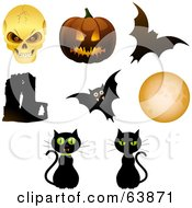 Royalty Free RF Clipart Illustration Of A Digital Collage Of Halloween Objects Skull Pumpkin Bats Cats Moon And Abbey by elaineitalia