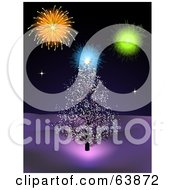 Royalty Free RF Clipart Illustration Of Fireworks Over An Outdoors Christmas Tree
