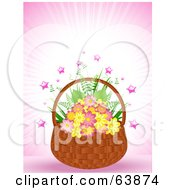 Royalty Free RF Clipart Illustration Of A Wicker Basket Of Pink And Yellow Flowers With Stars On Pink by elaineitalia