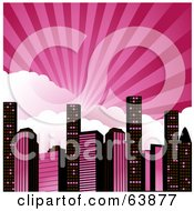 Royalty Free RF Clipart Illustration Of Rays Of Light Bursting Over Clouds Above A Pink And Black City by elaineitalia #COLLC63877-0046
