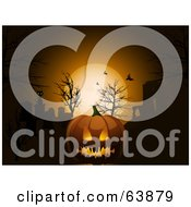 Royalty Free RF Clipart Illustration Of A Scary Halloween Pumpkin Against An Orange Moon And Bats In The Night Sky by elaineitalia