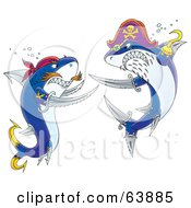 Royalty Free RF Clipart Illustration Of Two Pirate Sharks Engaged In A Sword Fight by Alex Bannykh