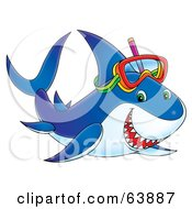 Royalty Free RF Clipart Illustration Of A Happy Blue Snorkeling Shark by Alex Bannykh
