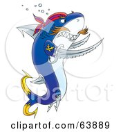 Royalty Free RF Clipart Illustration Of A Tough Pirate Shark With Swords And Hooks