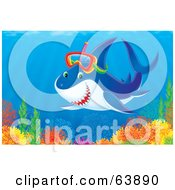 Royalty Free RF Clipart Illustration Of A Snorkeling Shark Above A Colorful Reef by Alex Bannykh