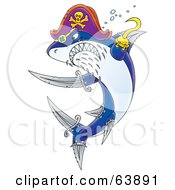 Royalty Free RF Clipart Illustration Of A Tough Pirate Shark With Hook And Sword Fins