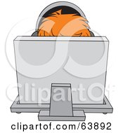 Royalty Free RF Clipart Illustration Of A Red Haired Person Wearing Headphones Behind A Computer by Alex Bannykh