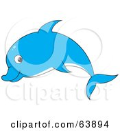 Royalty Free RF Clipart Illustration Of A Cute Blue Profiled Dolphin by Alex Bannykh