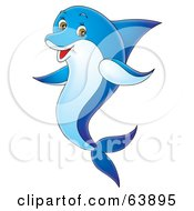 Royalty Free RF Clipart Illustration Of A Happy Blue Swimming Dolphin by Alex Bannykh