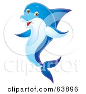 Royalty Free RF Clipart Illustration Of A Happy Blue Swimming Airbrushed Dolphin by Alex Bannykh