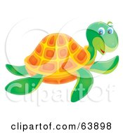 Royalty Free RF Clipart Illustration Of A Friendly Green And Orange Airbrushed Sea Turtle Swimming by Alex Bannykh