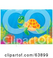 Royalty Free RF Clipart Illustration Of An Underwater Scene Of A Happy Sea Turtle Swimming Over A Coral Reef by Alex Bannykh