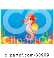Royalty Free RF Clipart Illustration Of An Underwater Scene Of A Happy Red Seahorse Over A Coral Reef by Alex Bannykh