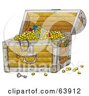 Royalty Free RF Clipart Illustration Of An Open Treasure Chest Revealing Jewels Necklaces And Gold by Alex Bannykh