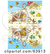 Royalty Free RF Clipart Illustration Of A Sunken Treasure Underwater With Fish And An Anchor And A Reflection