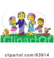 Royalty Free RF Clipart Illustration Of A Friendly Family And Their Pets On A Hill With Flowers