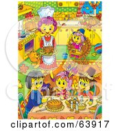 Royalty Free RF Clipart Illustration Of A Woman Serving Thanksgiving Dinner To Her Family In A Busy Kitchen by Alex Bannykh