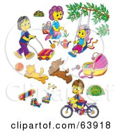 Royalty Free RF Clipart Illustration Of A Digital Collage Of Mothers Children Toys And Pets by Alex Bannykh