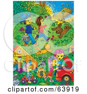 Royalty Free RF Clipart Illustration Of A Happy Family And Pets In A Riverfront Yard