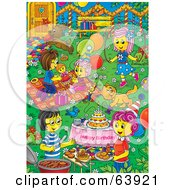 Royalty Free RF Clipart Illustration Of A Busy Birthday Party Yard With Kids Playing Women Talking And Pets