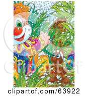 Royalty Free RF Clipart Illustration Of A Christmas Ant Discovering A Toy Clown In The Grass by Alex Bannykh