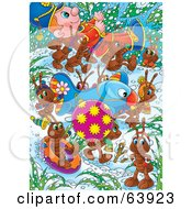 Royalty Free RF Clipart Illustration Of A Group Of Ants Carrying A Bauble Airplane And Toy Soldier Through The Snow by Alex Bannykh