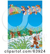 Royalty Free RF Clipart Illustration Of A Caterpillar Santa Flying A Sleigh Over Ants by Alex Bannykh