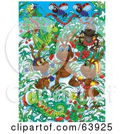 Royalty Free RF Clipart Illustration Of Festive Christmas Bugs Decorating Plants In The Snow by Alex Bannykh