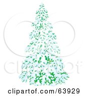 Royalty Free RF Clipart Illustration Of A Lush Airbrushed Evergreen Tree Flocked In Snow In The Winter by Alex Bannykh