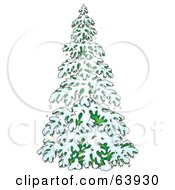 Royalty Free RF Clipart Illustration Of A Lush Evergreen Tree Flocked In Snow In The Winter