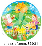 Royalty Free RF Clipart Illustration Of A Round Scene Of Grandparents A Child And Animals Around A Large Turnip by Alex Bannykh