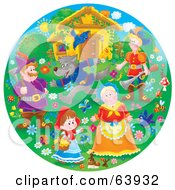 Royalty Free RF Clipart Illustration Of A Round Scene Of Little Red Riding Hood by Alex Bannykh
